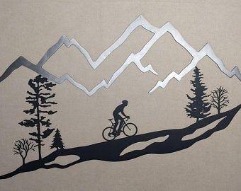 Metal Wall Art Mountain Bike Trees Mountain Bike Mtb 30