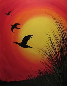 28+ Collection Of Sunset Drawing Oil Pastel | Sunset Silhouette Oil Pastels - Gr...