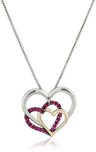 Sterling Silver and 14k Yellow Gold Triple Heart Created Ruby Pendant Necklace 18 -- Click on the image for additional details. (This is an affiliate link) #Necklaces