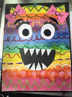 Kindergarten Line Painting Monsters Kindergarten Art Lessons Kindergarten Art Line Art Lesson