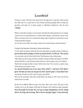 Leserbrief Aufbau Und Beispiel Unterrichtsmaterial