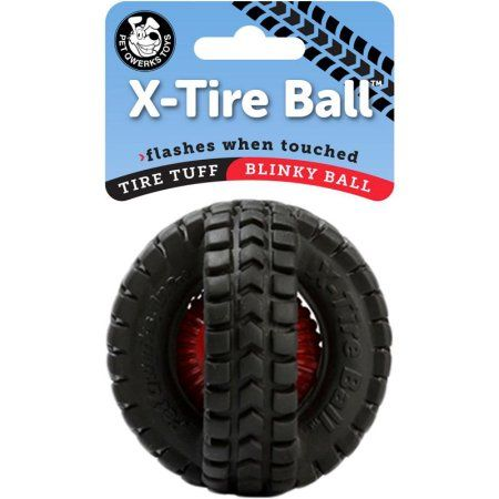 Pet Qwerks Blinky X Tire Ball Dog Toy 3 5 Inch Multicolor