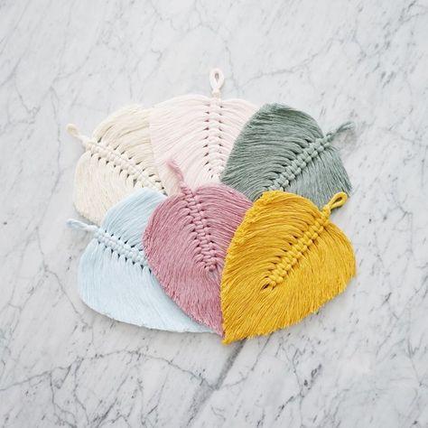 Small Macrame Feather | Macrame Leaf | Macrame Ornament | Modern Macrame | Boho Home Decor | Macrame Wall Hanging | Nursery Decor