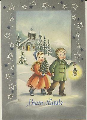 Auguri Di Natale Anni 50.Cartolina Illustratore Augurale Buon Natale 1961 Gravuras Cute