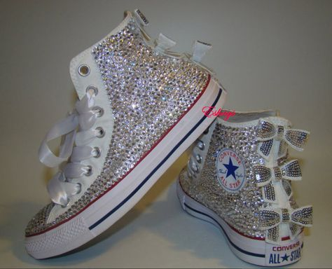 Clear Sparkly High Top Converse with Sequin Silver Bow