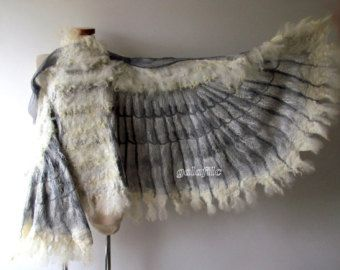 Winged shawl Wings scarf Felted scarf, costume wings, Nuno felted scarf, White owl wings felt wings feather women felt collar by Galafilc by galafilc on Etsy Bird Costume, Hallowen Costume, Costume Wings, Halloween, Parrot Costume, Nuno Felt Scarf, Felted Scarf, Felted Wool, Owl Wings