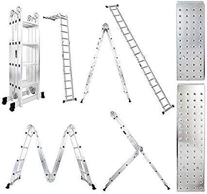Luisladders 15 5 Feet Aluminum Multi Purpose Extendable Ladder Folding Step Ladder Locking Hinges Amazon Com In 2020 Step Ladders Extendable Ladder Ladder