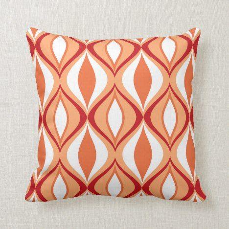 Mid Century Modern Diamonds Orange White Throw Pillow Zazzle Com White Throw Pillows Throw Pillows Patterned Throw Pillows