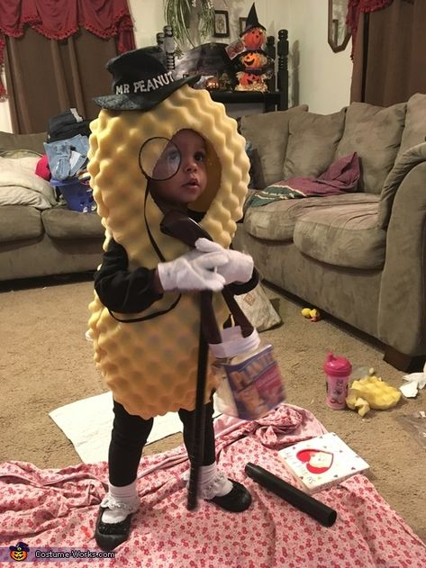 """To live up to her nickname """"peanut"""", my niece is sporting the homemade Planter's Mr. After much trial and error, Mr. Peanut was created with materials that were around the house. I can't give away the secret of the perfect materials for. Homemade Halloween Costumes, Halloween Costume Contest, Family Halloween Costumes, Halloween Kostüm, Halloween Couples, Group Halloween, Halloween Makeup, Halloween Decorations, Cute Costumes"""