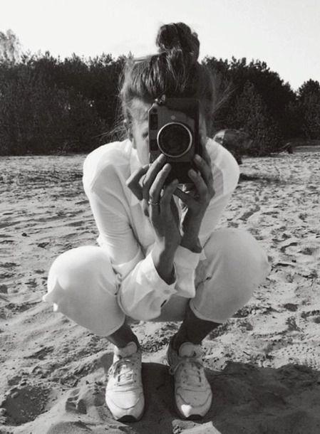 Monochrome Black And White Photograph All White Summer Outfit White Sneakers Retro Old-Style Camera White Shirt White Jeans #OldBlackandWhitePhotographs