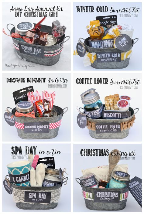 Some wonderful gifts in a tin ideas! All 6 gift basket ideas come with free tags and labels, and a list of suggested items.