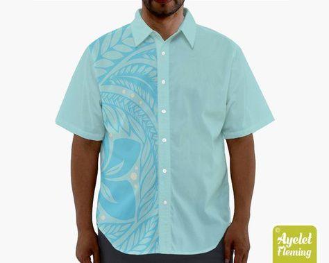 756af7cb Hawaiian shirt Polynesian clothing Tropical luau shirt Tribal hawaii shirt  couples shirts Light blue floral shirt Rockabilly gift for him by  AyeletFleming ...