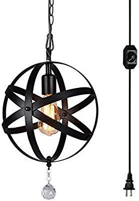 Hmvpl Plug In Industrial Globe Pendant Lights With 16 4 Ft Hanging Cord And Dimmable On Off Switch Chandelier Ceiling Lights Globe Pendant Light Ceiling Lights Plug in outdoor hanging light