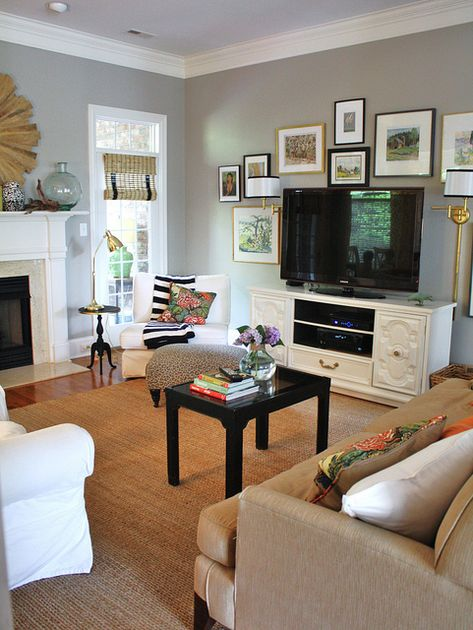 living room with fireplace and tv. 19 Amazing Diy TV Stand Ideas You can Build Right Now  Consoles Traditional and TVs