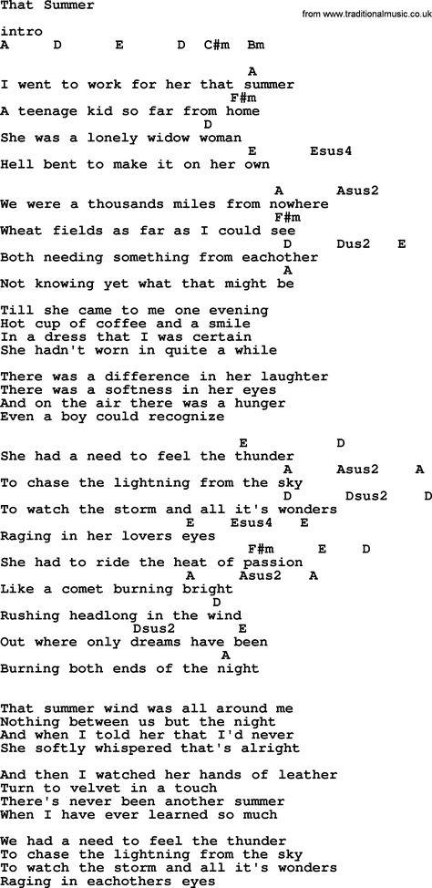 Garth Brooks Song That Summer Lyrics And Chords Lyrics Music