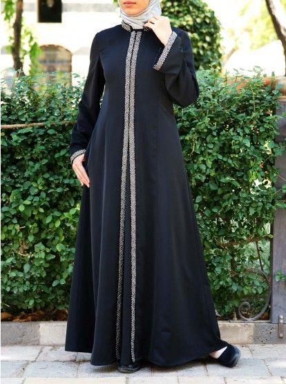 Silver Beadwork Abaya Gown Abayas Fashion Muslim Fashion Dress Abaya Fashion Dubai