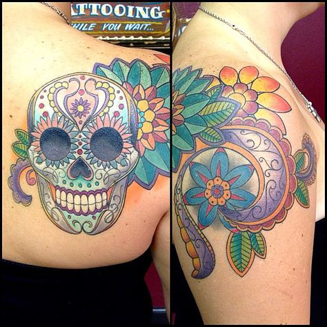 Finished this sugar skull shoulder tattoo a couple weeks a… | Flickr