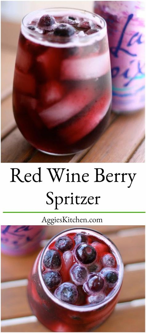 Enjoy this refreshing and easy Red Berry Spritzer based cocktail for anyone looking to cut back on calories. Perfect to sip poolside during the summer! via Drinks Red Wine Berry Spritzer Red Wine Spritzer, Red Wine Cocktails, Spritzer Drink, Wine Spritzer Recipe, Cocktail Recipes, Wine Recipes, Low Carb Cocktails, Cocktail Drinks, Sangria