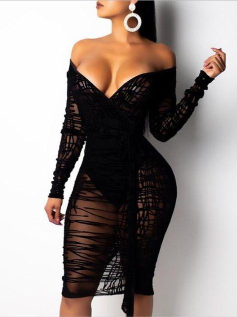 Slit Back Sheer Mesh Wrap Dress