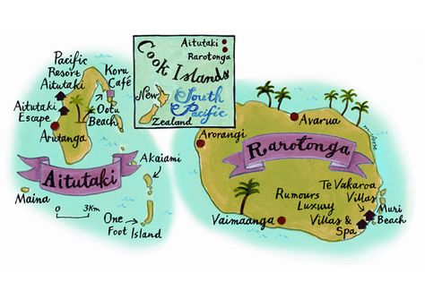 Illustrated map of the Cook Islands, by Mariko Jesse. More on the Cook Islands here: http://www.cntraveller.com/recommended/tropical/cook-islands/