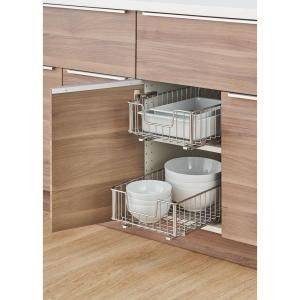 Trinity Ecostorage 11 5 In W X 17 75 In D X 6 25 In H Chrome Wire In Cabinet Pull Out Bottom Mount Wire Drawer 2 Pack Tbfc 22052 The Home Depot Pull Out Cabinet