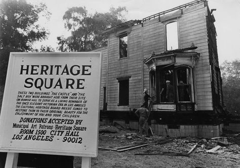 remains of the salt box, the former bunker hill residence which was relocated to heritage square. remnants of the structure are shown here the morning after a fire, 1969