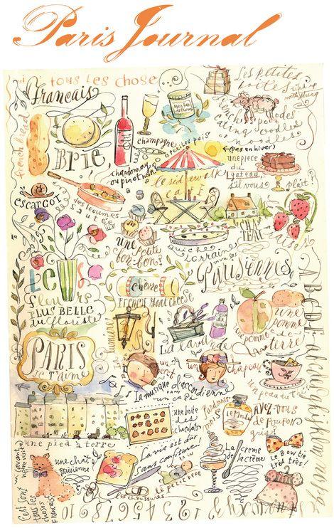 Paris collage, Brenda Walton ArtJournal watercolour art