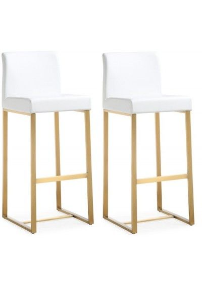 White Button Tufted Counter Or Bar Stool Gold Legs Leather