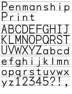 Penmanship Print   can print JUST LINES WITHOUT LETTERS by using