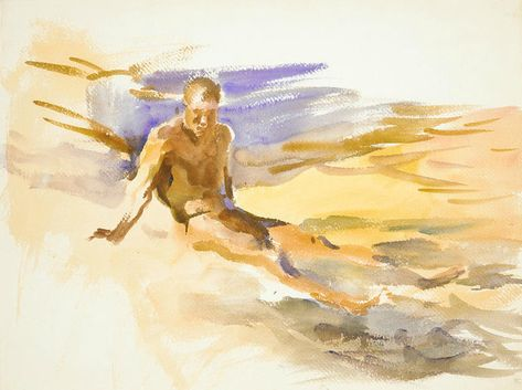 John Singer Sargent (USA, - Bather, Florida - 1917 - Watercolor on white wove paper x 53 cm) - The Met
