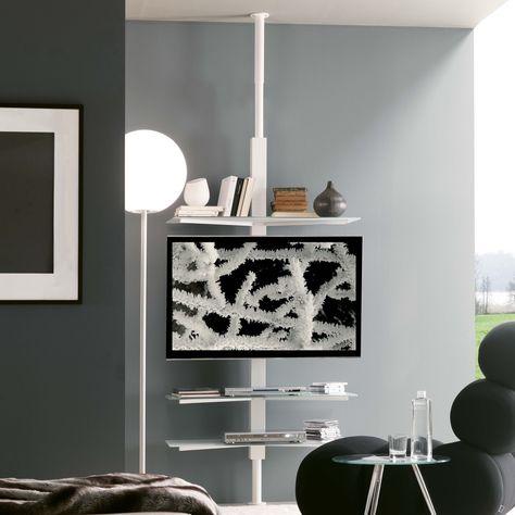Porta Tv Cristallo Design.Porta Tv Orientabile Kino Con Piani In Cristallo Diotti Com
