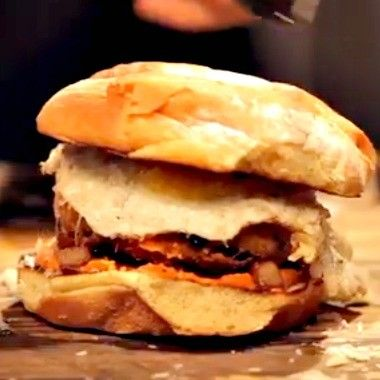 """Spicy Chorizo Sausage Burger... putting the """"ham"""" in """"hamburger."""" In more ways than one... sort of."""