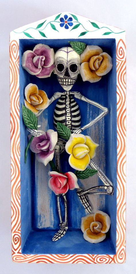 Day of the dead carved maguey wood retablo skeleton with roses folk art peru