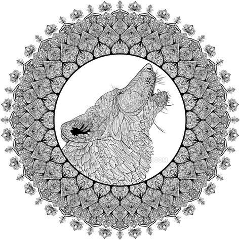 Howling Wolf Mandala By Welshpixie Deviantart Com On Deviantart