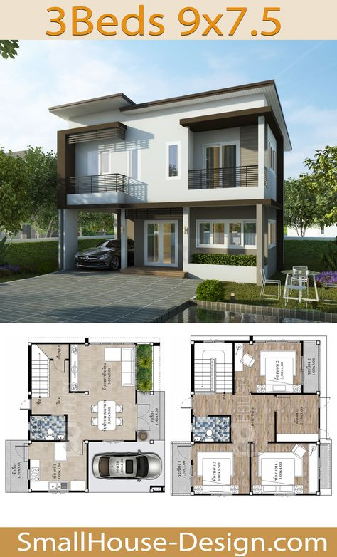 Simple House Design 9x7.5 with 3 Bedrooms . EARTH HOME SERIES Tropical Style Line F-121, 2-story house 3 bedrooms, 2 bathrooms.  Parking for 1 car, Usable area, 161 square meters, Land area 49 Square Wah, 13 meters wide 15 meters long