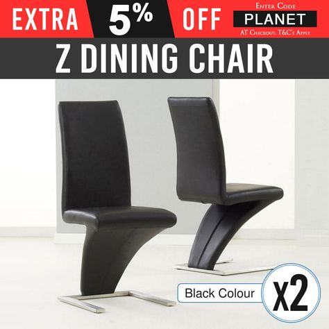 Outstanding Dining Chair Black 2X Modern Z Shaped Stainless Steel Base Machost Co Dining Chair Design Ideas Machostcouk