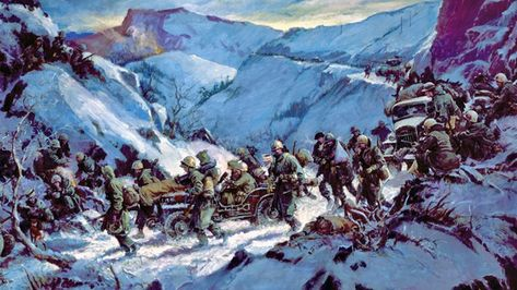 During the Korean War, waves of Chinese surprised U. Marines at the frozen Chosin Reservoir in