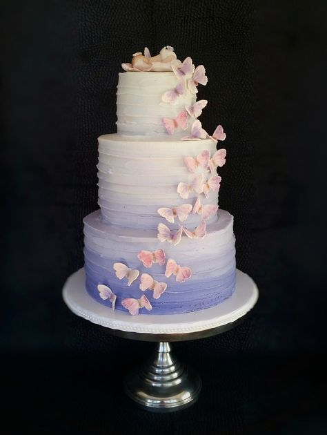 cake Lavender Ombré buttercream cake with butterfly cascade and fondant baby topper Butterfly Theme Party, Butterfly Wedding Cake, Butterfly Birthday Cakes, 16 Birthday Cake, Butterfly Baby Shower, Butterfly Cakes, Sweet 16 Birthday, Cakes With Butterflies, Purple Butterfly Cake