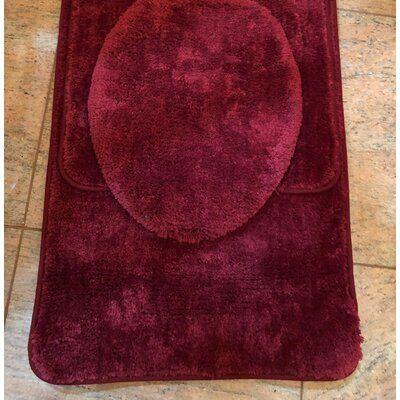 Alwyn Home Maisy 3 Piece Bath Rug Set Colour Burgundy In 2020