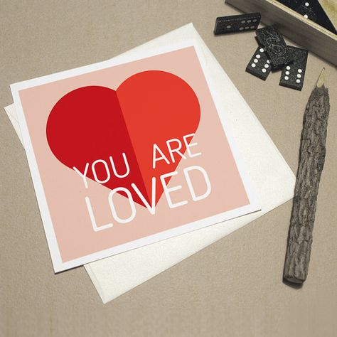 Love Gift Card You Are Loved Hot Red Heart Card By Izzybizzyme