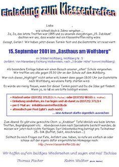 Pin Von Jutta Fritsche Auf Klassentreffen Einladung