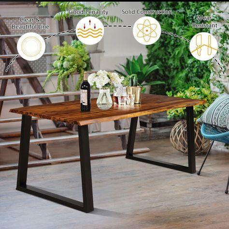 Gymax Rectangular Acacia Wood Dining Table Rustic Indoor &Outdoor Furniture