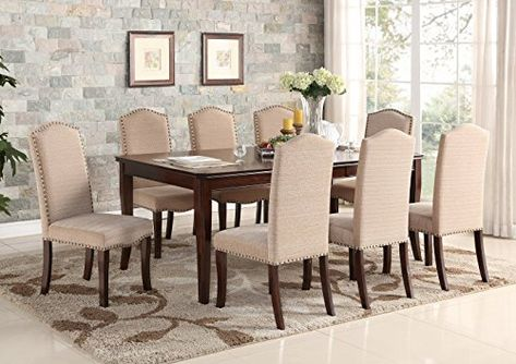 Kings Brand Furniture 9 Piece Cherry Wood Dining Room Set ...