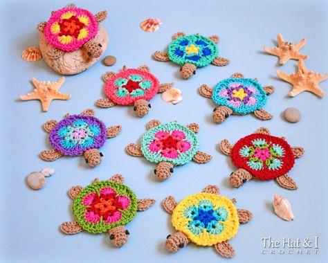 CROCHET PATTERN - Tiny Turtles - crochet turtle pattern, honu turtle motif, turtle applique, turtle ornament pattern - Instant PDF Download