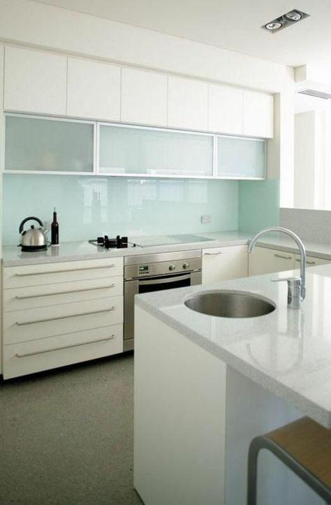 glas fliesenspiegel minzgrün küchenrückwände Mutlu mutfaklar - wandpaneele küche glas