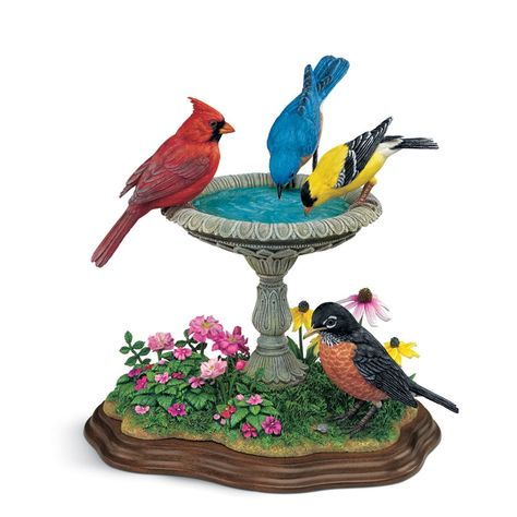 """Summer Gathering"" -- [Hand-painted sculpture by world-champion bird carver, *Bob Guge.* Meticulous crafting of cold-cast porcelain captures every last detail of these beloved songbirds.]~[from The Danbury Mint]  'h4d' 120815"