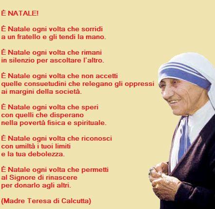 Frasi Auguri Natale Madre Teresa Di Calcutta.Preghiera Di Natale Madre Teresa