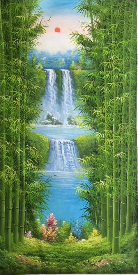 Handmade Landscape Oil Canvas Chinese Painting Style Bamboo Forest Waterfall Handmade Oil Painting Buy Handmade Landscape Oil Canvas Chinese Paintin Cascadas Paisajes Viento