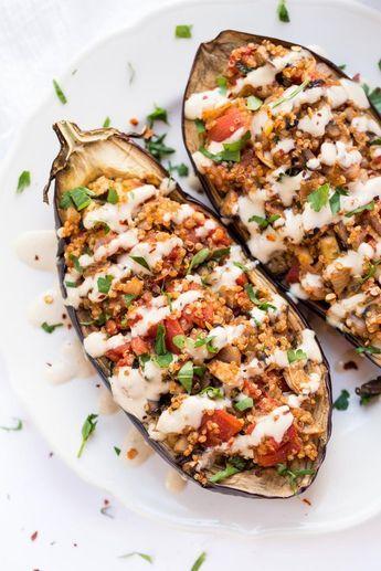 Quinoa Stuffed Eggplant With Tahini Sauce