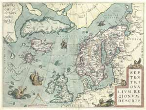 1572 Ortelius Map Of The Arctic Scandinavia Iceland Greenland Map History Of Norway Old Maps